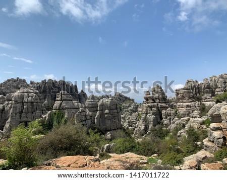 Picturesque rocks in El Torcal de Antequera natural park, Andalusia, Spain #1417011722
