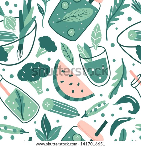 Hand drawn doodle vegan seamless pattern. Greens, fruit and vegetable. Vegetarian detox healthy food: juice, smoothie, fresh. Vector texture. Cute onion, arugula, peas, cucumber, broccoli, watermelon #1417016651