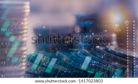 Financial investment concept, Double exposure of city night and stack of coins for finance investor, Forex trading candlestick chart, Cryptocurrency  Digital economy. background for invest #1417023803