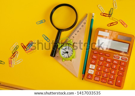 School supplies used in math class, geometry or science. Mathematics geometry tool for student in math class with copy space for text and isolated on white background. Mathematics concept #1417033535