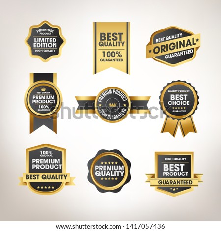 Luxury gold badges and labels premium quality product #1417057436