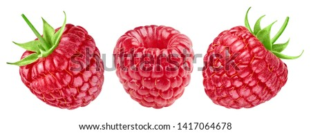 Raspberries isolated on white background close up. Raspberries Clipping Path. Best collection. Professional studio photography #1417064678