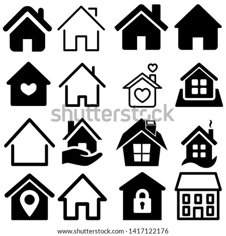 House Icon Set. House vector illustration symbol.