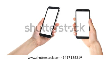 Set with people holding smartphones on white background, closeup of hands. Space for text #1417135319