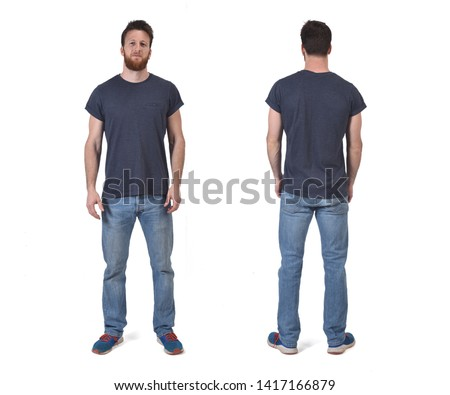 portrait of a man of front and back isolated on white Royalty-Free Stock Photo #1417166879