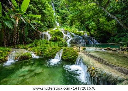 Stunning Mele Maat Cascades in Port Vila, Efate Island, Vanuatu, South Pacific Royalty-Free Stock Photo #1417201670