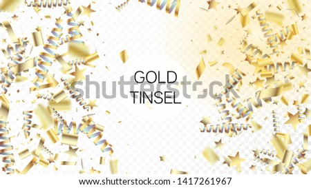 Modern Gold Confetti, Falling Stars, Streamers, Tinsel. Cool Platinum Christmas, New Year, Birthday Party Holiday Frame. Horizontal Stars Night Sky Background. Gold Confetti, Falling Down Stars. #1417261967