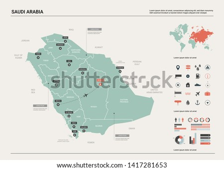 Vector map of Saudi Arabia. Country map with division, cities and capital Riyadh. Political map,  world map, infographic elements. #1417281653