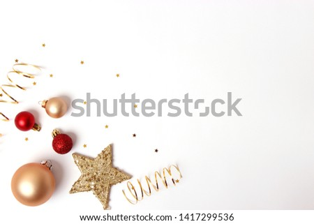 Christmas or New Year accessories on color background top view. Holidays, gifts, background, place for text. flatlay #1417299536