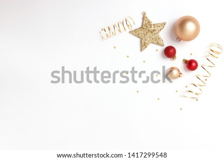 Christmas or New Year accessories on color background top view. Holidays, gifts, background, place for text. flatlay #1417299548
