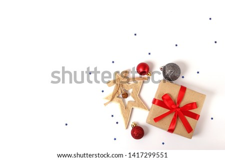 Christmas or New Year accessories on color background top view. Holidays, gifts, background, place for text. flatlay #1417299551