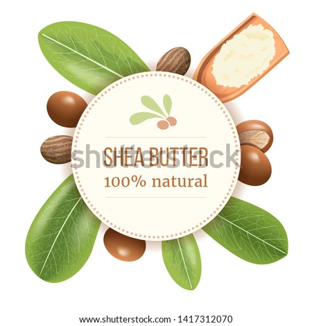 Ripe shea nuts and leaf Round Circle badge. shi tree pods whole and cracked. Vitellaria paradoxa. Card template copy space. for cooking, cosmetics, aromatherapy, perfume, food, healthcare, ointments #1417312070