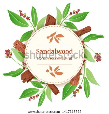 Sandalwood Round Circle badge. sticks and leaves card template with copy space. Card template. branch boxing. Vector illustration. For prints, posters, flyer, flier, , copy space, textile tags labels #1417313792