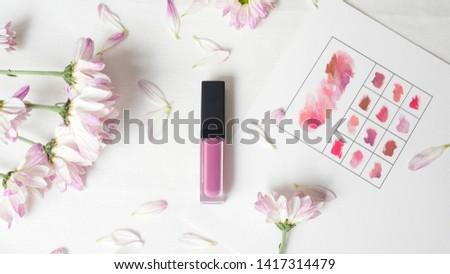 Lipstick purple beautiful flowers background Fashionable colors of the season #1417314479