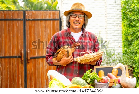 Old man with hat hold chicken and a basket of eggs and look forward in backyard or garden during day time. #1417346366