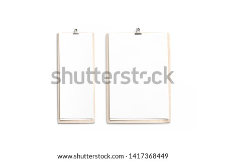 Blank white cafe menu, wooden board mockup, 4 inch, A4, top view, 3d rendering, isolated. Empty lists with food and drink on thin wood holder. Clear flyers on the clipboard for restaurant template.