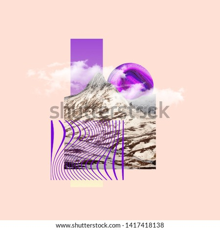 Mountaing with the sunset as a purple candy. Concept of interaction of city sights or showplaces with the nature objects. Negative space. Modern design. Contemporary and creative art collage. #1417418138