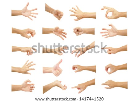 multiple hand with gestures of asian man for symbol to show out isolated on white background #1417441520