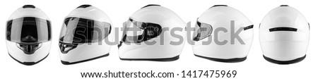Set collection of white motorcycle carbon integral crash helmet isolated on white background. motorsport car kart racing transportation safety concept #1417475969
