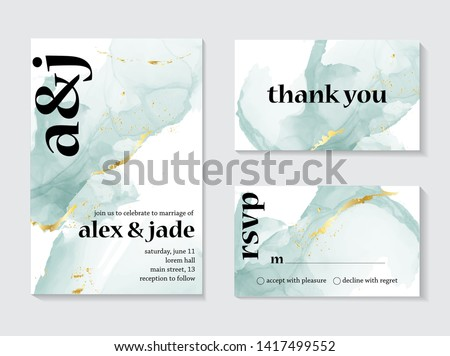 Set of wedding ink liquid card with typography. Wedding invitation concept. Tender mint gold poster, invite. Vector decorative greeting card or invitation design background - Vector. #1417499552