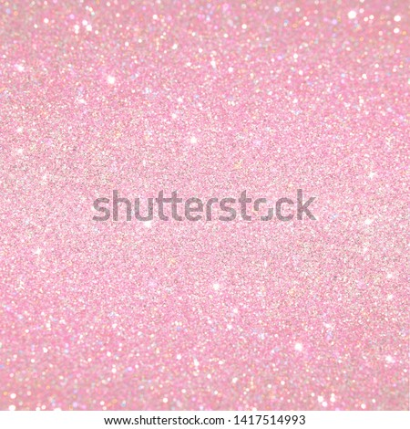 Cute Pink Baby Girl Pattern. Shiny Glitter Background. Pink baby girl backdrop. Girly luxury falling glitter background. Design element for birthday invitations, cards, stickers, scrapbook paper