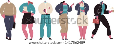 Cartoon Business People. Business Community characters. Diverse office people group, corporate team. Flat vector illustration isolated #1417562489
