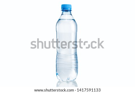 Transparent plastic pet bottle of mineral water against isolated background  #1417591133