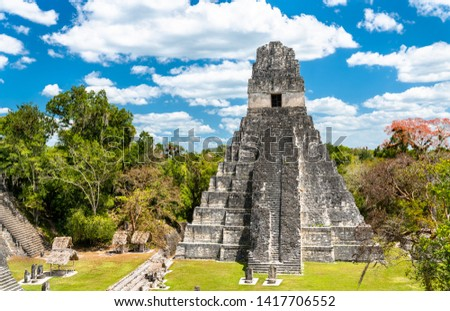 Temple of the Great Jaguar at Tikal. UNESCO world heritage in Guatemala Royalty-Free Stock Photo #1417706552