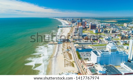 AERIAL VIEW OF ATLANTIC CITY BOARDWALK AND STEEL PIER.  Royalty-Free Stock Photo #1417767974