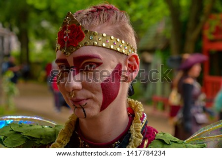 Waxahachie, Texas / USA - 11 May 2019 Scarborough Renaissance Festival Female actresses showing off their fantastic makeup. #1417784234