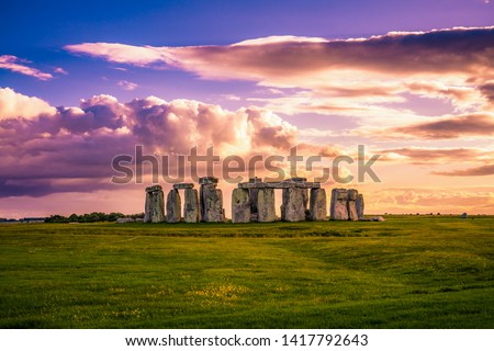 Stonehenge at sunset in England  Royalty-Free Stock Photo #1417792643