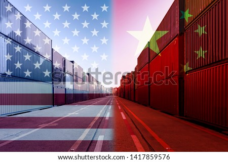 Double exposure image of United States of America and China trade war tariffs as two opposing container cargo in port as an economic taxation dispute over import and exports concept  #1417859576