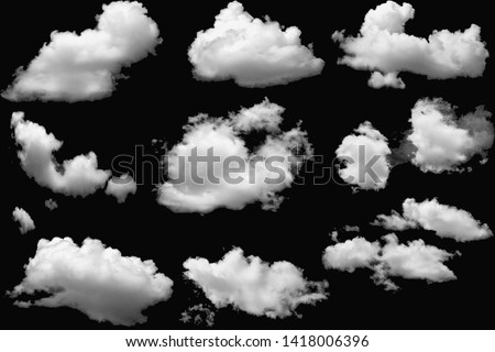 Set of clouds white fluffy on isolated elements black background. #1418006396