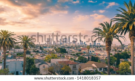 Beautiful sunset of Los Angeles downtown skyline and palm trees #1418018357