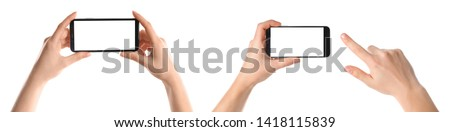 Set with people holding smartphones on white background, closeup of hands. Space for text #1418115839