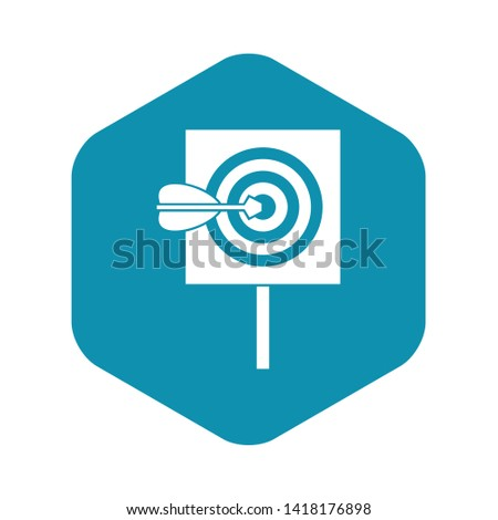 Arrow in the center of target icon in simple style isolated on white background vector illustration #1418176898