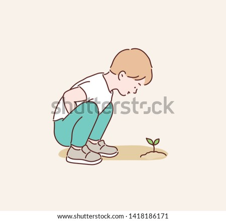 boy planting seeds. planting seeds to grow a tree. boy planting seeds and take care of plant. Hand drawn style vector design illustrations. #1418186171