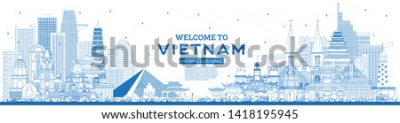 Outline Welcome to Vietnam Skyline with Blue Buildings. Vector Illustration. Tourism Concept with Historic Architecture. Vietnam Cityscape with Landmarks. Hanoi. Ho Chi Minh. Haiphong. Da Nang. #1418195945