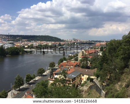 View on Vltava river and the city from the Vysehrad hill. Prague, Czech Republic #1418226668