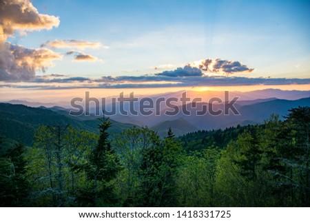 Sunset at Water Rock Knob along the Blue Ridge Parkway #1418331725