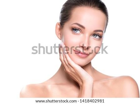 Beauty woman face healthy skin closeup natural makeup #1418402981