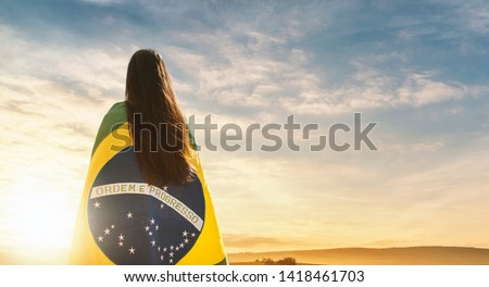 Woman with Brazilian flag, independence day #1418461703