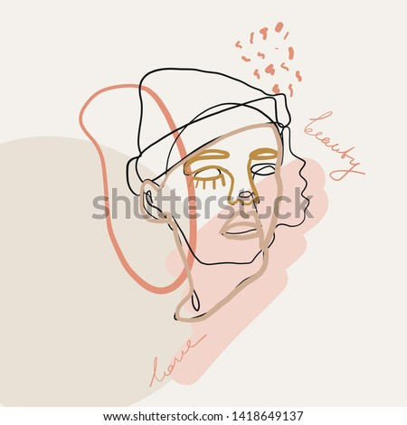 Portrait of woman in minimal trendy style. One line continuous drawing. Contemporary abstract design  for women's day card, poster, banner, textile print, social media concept, flyer.  #1418649137