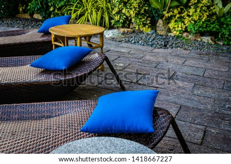 Empty chair decoration outdoor patio for relax and take a break #1418667227