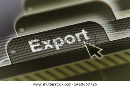 Export. A file in a screen. Illustration.