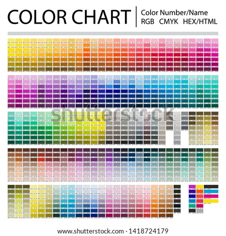 Color Chart. Print Test Page. Color Numbers or Names. RGB, CMYK, HEX HTML codes. Vector color palette. Royalty-Free Stock Photo #1418724179