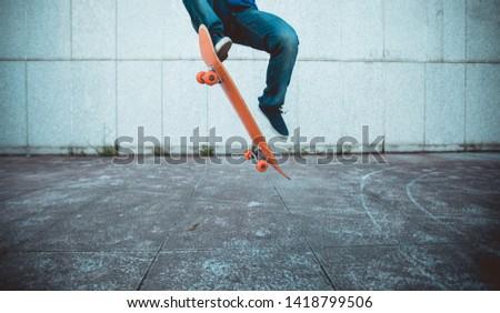one skateboarder skateboarding at city  #1418799506