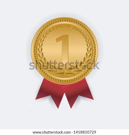 Gold Medal Vector. Golden 1st Place Badge. Sport Game Golden Challenge Award. Red Ribbon. Isolated. #1418810729