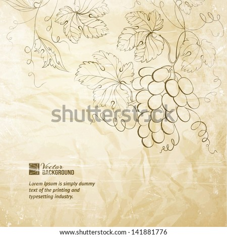 Brown wrinkled paper with grapes. Vector illustration.