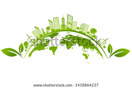 Ecology concept and Environmental ,Banner design elements for sustainable energy development, Vector illustration #1418864237
